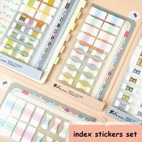 155indexpack two color sticky notes index memo pad bookmarks cute scheduler paper stickers students stationery