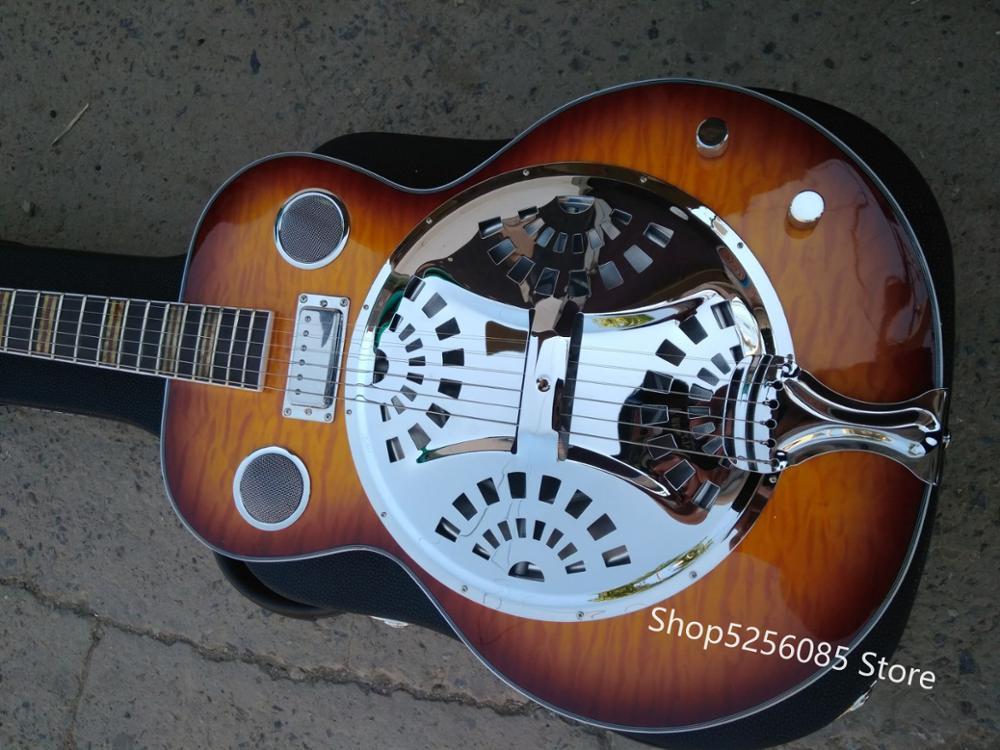 free shipping dobro Hofner Vintage Sunburst Hollow body Guitar Metal top Mini Humbucker Resonator Steel Electric guitar enlarge