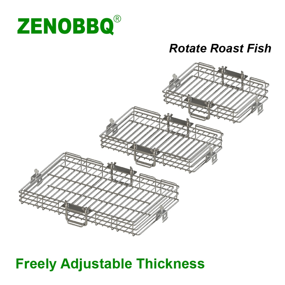 ZENOBBQ استدارة الشواء شواء سلة السمك المشواة عدة Ovenware أسياخ الروبيان اللحوم الرف الخبز بحرية قابل للتعديل سمك
