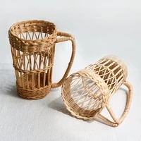 diy handmade rattan woven water cup cover handle protection bottle covers cup set chopsticks spoon storage organizer