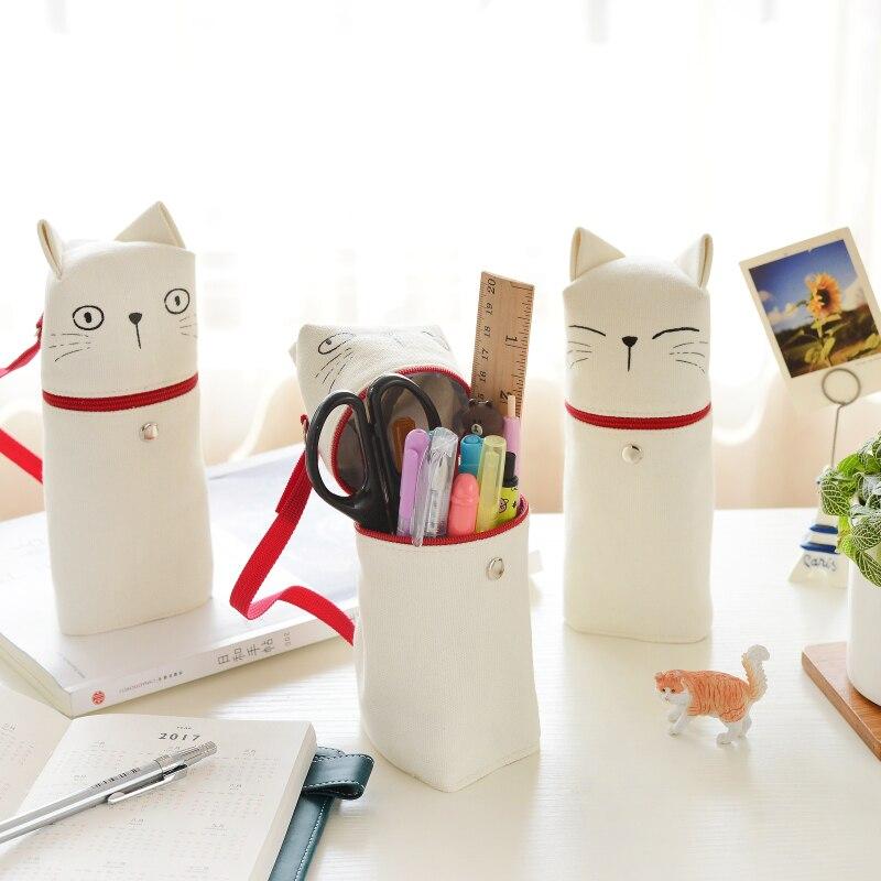 4 unids/lote hello cat pen & pencil bag dibujos animados gatitos gran bolsa de almacenamiento pen case organizador papelería oficina suministros escolares DB504