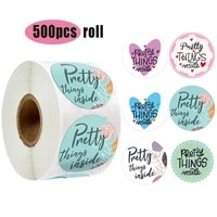 500pcs round pretty things inside stickers 1inch paper gold heart thank you stickers decor packaging seal label stickers roll
