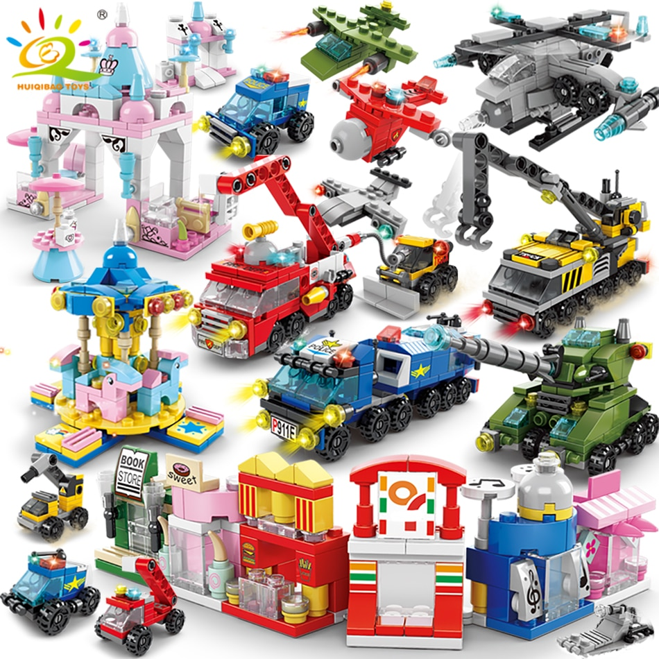 enlighten 970pcs fire rescue headquarters sation centre helicopter truck fireman assemble toy car building blocks toys HUIQIBAO 6IN1 City Fire Police Army Engineering Street View Girls Building Blocks Tank Helicopter Truck Car Bricks Children Toys