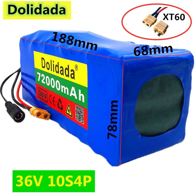 Bateria de Alta Novo Relação Bateria 10s4p 72ah 500w Potência 42v72000mah Ebike Bicicleta Elétrica Bms 2021 Xt60 36v