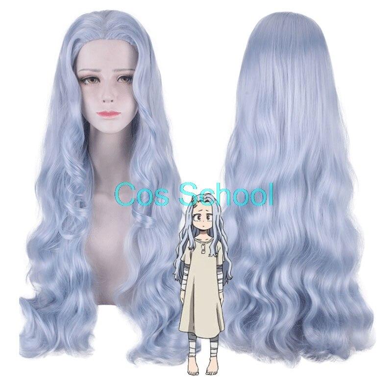 Pelucas de Cosplay de Anime My Hero, estilo Eri, pelucas Boku no Hero, estilo Eri, pelucas de Halloween, Pelo Rizado largo azul gris