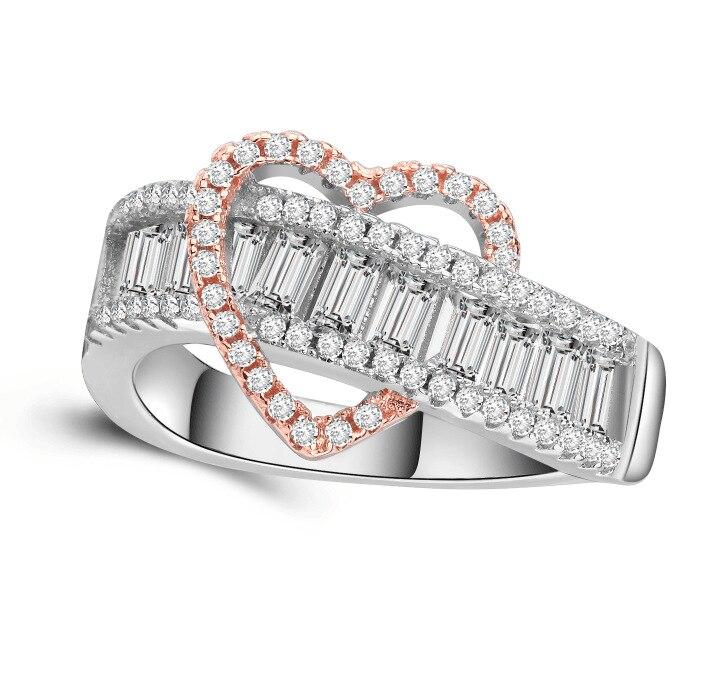 Anillo de lujo refinamiento de cristal Corazón de melocotón anillo dulce princesa cóctel fiesta regalo para novia joyería de moda tamaño 6-10