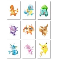 cartoon game anime poster little fire dragon pikachu watercolor mural for childrens room decoration accessories canvas painting