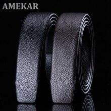 Full Grain Leather Belt No Buckle Belt Black Luxury Genuine Leather Automatic Belts Strap Men Ribbon