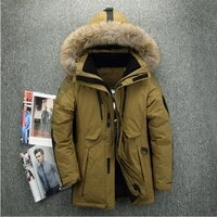 mens white duck down jacket 2020 winter new big fur collar hooded thick warm long coat male brand clothing red gray armygreen