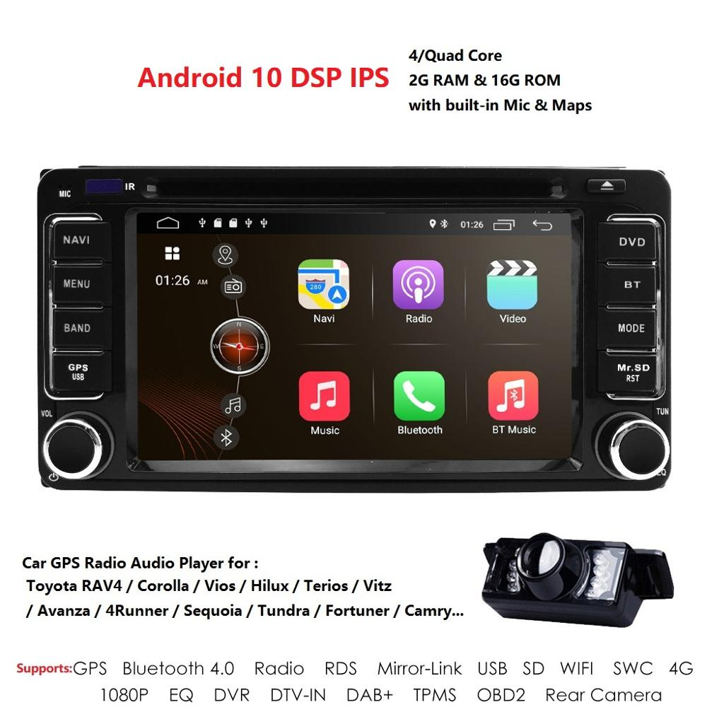 IPS DSP 4 ядра 2G + 16G 2 Din Android 10 автомобильный Радио Мультимедиа DVD плеер GPS для Toyota Terios Старый Corolla Camry Prado RAV4 стерео