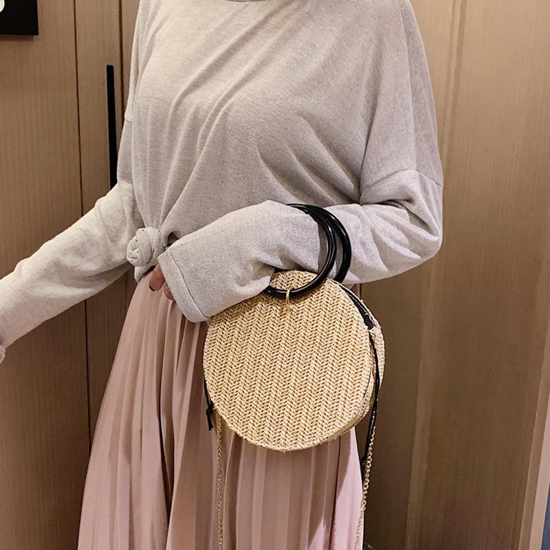 Women Round Bohemian Straw Bags Female Ring Handle Solid Color Beach Bags Handbags Ladies Fashion New Shoulder Messenger Bags