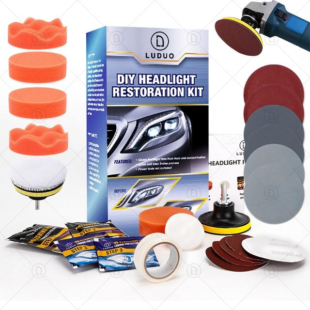 LUDUO DIY наборы для восстановления фар, наборы для полировки фар, системы очистки пасты, уход за автомобилем, лампы для мытья головы, отбеливатель для восстановления и ремонта