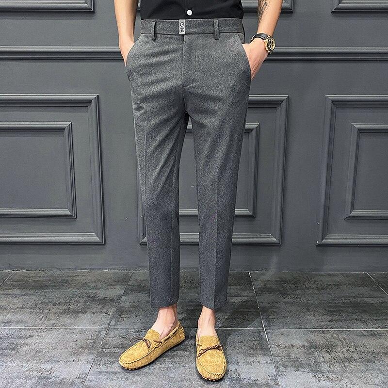 Брюки мужские костюмные прямые с прямыми штанинами, однотонные модные облегающие деловые повседневные брюки в Корейском стиле, для молодеж...