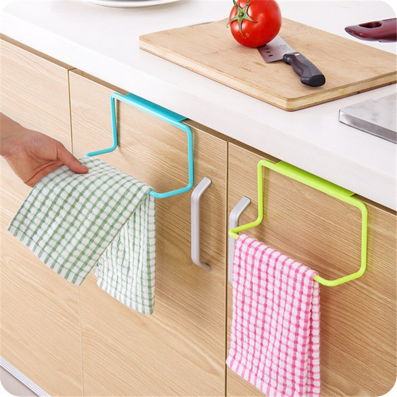 1PC Kitchen Organizer Towel Rack Hanging Holder Bathroom Cabinet Cupboard Hanger Shelf For Kitchen Supplies Accessories