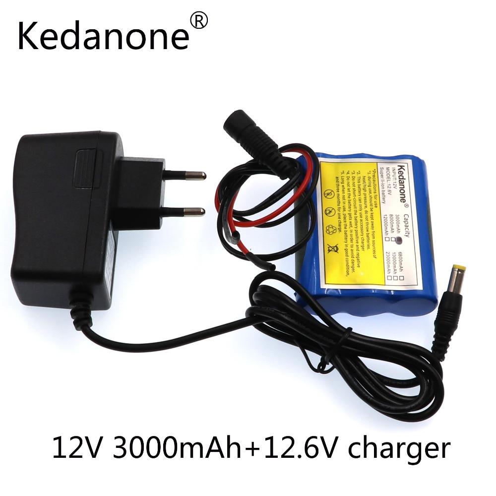 Kedanone-Super batería recargable, 12v, 3000 cc, 12v, 2018 mAh, li-lon, DC12V, regavel...