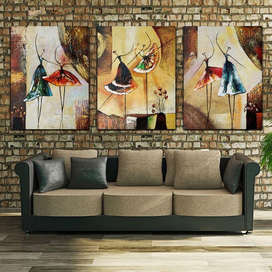Unframed 3 Panel pintado a mano de bailarina de Ballet moderno abstracto arte de pared imagen pintura al óleo de decoración para el hogar de la lona para el dormitorio