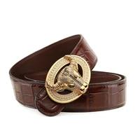 gold crocodile leather belt mens genuine luxury big brand diamond belt smooth buckle cow head leather belt trendy