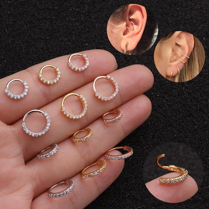 Кольцо для пирсинга носа с фианитом, ювелирное украшение для носовой перегородки, ракушка, жук, 1 шт.