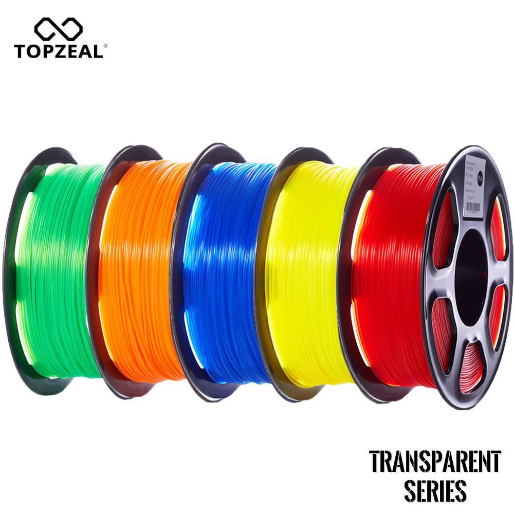 TOPZEAL Transparent Clear PLA Plastic for 3D Printer 1.75mm 1KG Spool PLA Filament 3D Printing Material, PLA Transparent Series