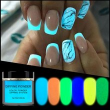 1 Box Neon Phosphor Dipping Powder Luminous Nail Art Decorations Fluorescent Glitter Glow Pigment Dust Gel Polish Women Makeup