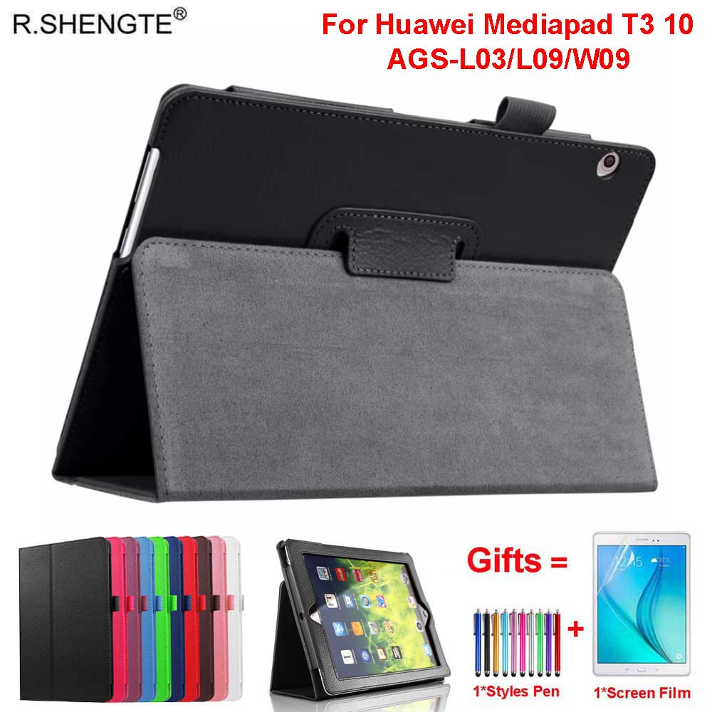 Funda de cuero con tapa ligera para Huawei MediaPad T3, AGS-W09 de 10 AGS-L09, AGS-L03 de 9,6 pulgadas, Funda con bolígrafo + película
