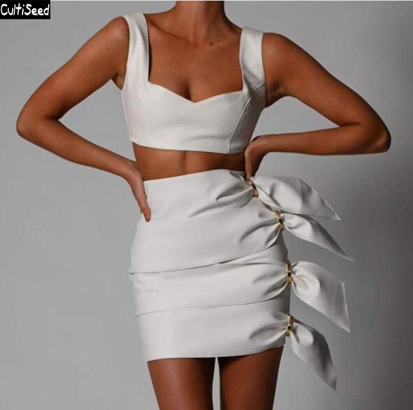 Cultiseed-طقم فستان من جلد البولي يوريثان للنساء ، ملابس مثيرة ، موضة جديدة ، بدون حمالات ، سترة ، خصر نحيف ، فساتين مزخرفة جانبية