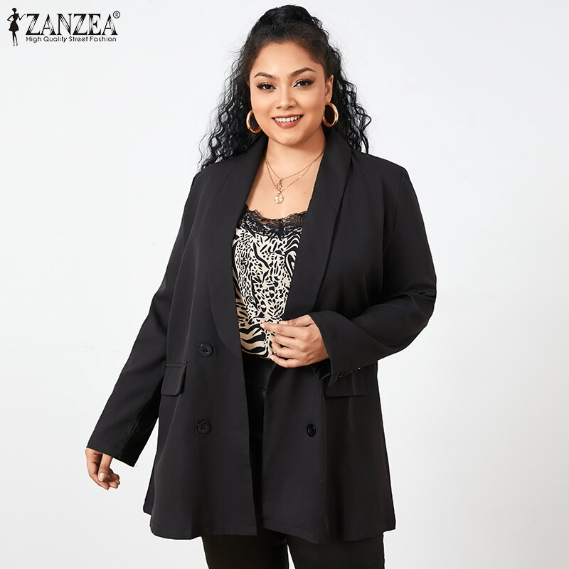ZANZEA Women Office Suits Spring Ladies Shawl Collar Coat 2020 Female Double-breasted Blazer Casual Solid Work Outwear Plus Size