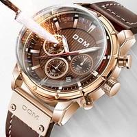 dom sapphire sport watches for men glod top brand luxury military leather wrist watch man chronograph wristwatch m 1320gl 5m