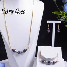 Gold Chains and Necklaces Jewellery Set Hawaiian Freshwater Pearl Wedding Jewelry Sets Fashion Women