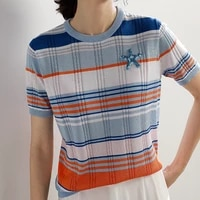striped ice silk t shirt women summer korean style casual o neck thin knitted tshirt woman clothes short sleeve plaid tee shirt