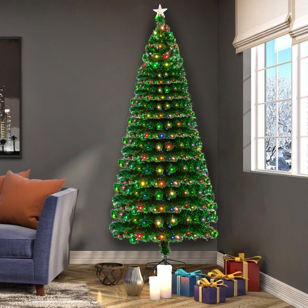 Festival Decor 7.5FT Fiber Optic Christmas Tree with 260 LED Lamps & 260 Branches With Metal Foldable Stand Party Decor Gift