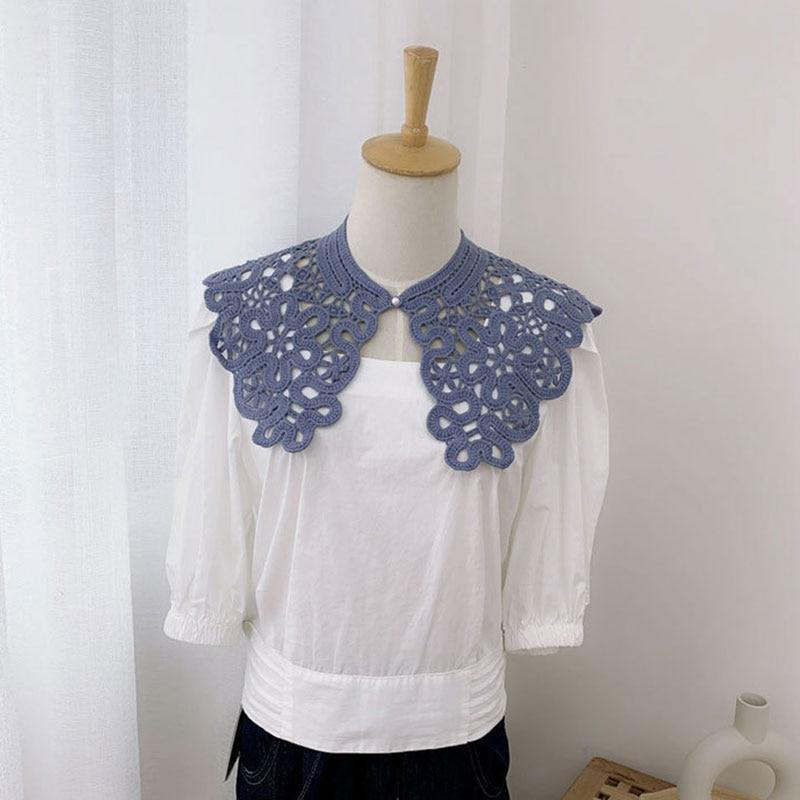 Women Girls Elegant Solid Color Lace Scarf Summer Thin Hollow Crochet Mesh Scarf Wrap Sweet Comforta