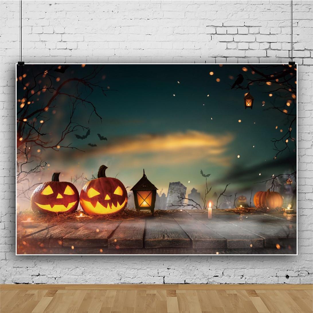 Laeacco Хэллоуин Тыква фонарь деревянные доски пол ночной вид ветки летучая мышь баннер фото фон фотографические фоны