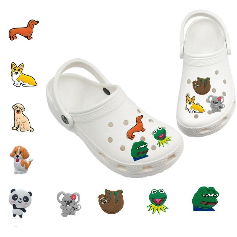 Abalorios de animales, Rana, perro, perezoso, Corgi, Koala, Jibz para Croc, accesorios para decoración de zapatos, abalorios de zapatos de PVC, regalo para niñas y niños 1-5 uds.