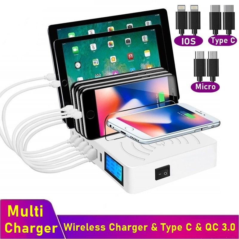 شاحن USB متعدد شاحن لاسلكي سريع شاشة LCD QC3.0 شحن سريع Carregador Portatil آيفون 8 11 12 برو ماكس سامسونج