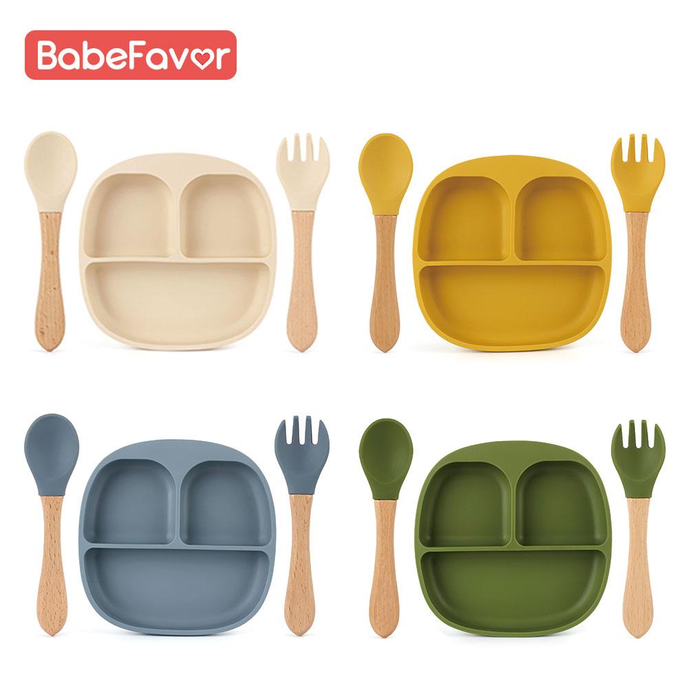 Набор детских тарелок, ложка и вилка, силиконовые пищевые плотные детские тарелки, тренировочная посуда, столовая посуда, чашки для кормлен...