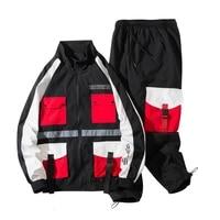 deportiva ropa 2 piece hombre moda survetement homme jacket pant splicing multi pocket autumn tracksuit for men two piece set