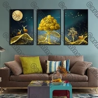 poster yellow tree deer birds landscape canvas painting and prints wall art pictures decoration for living room 3pcs frameless