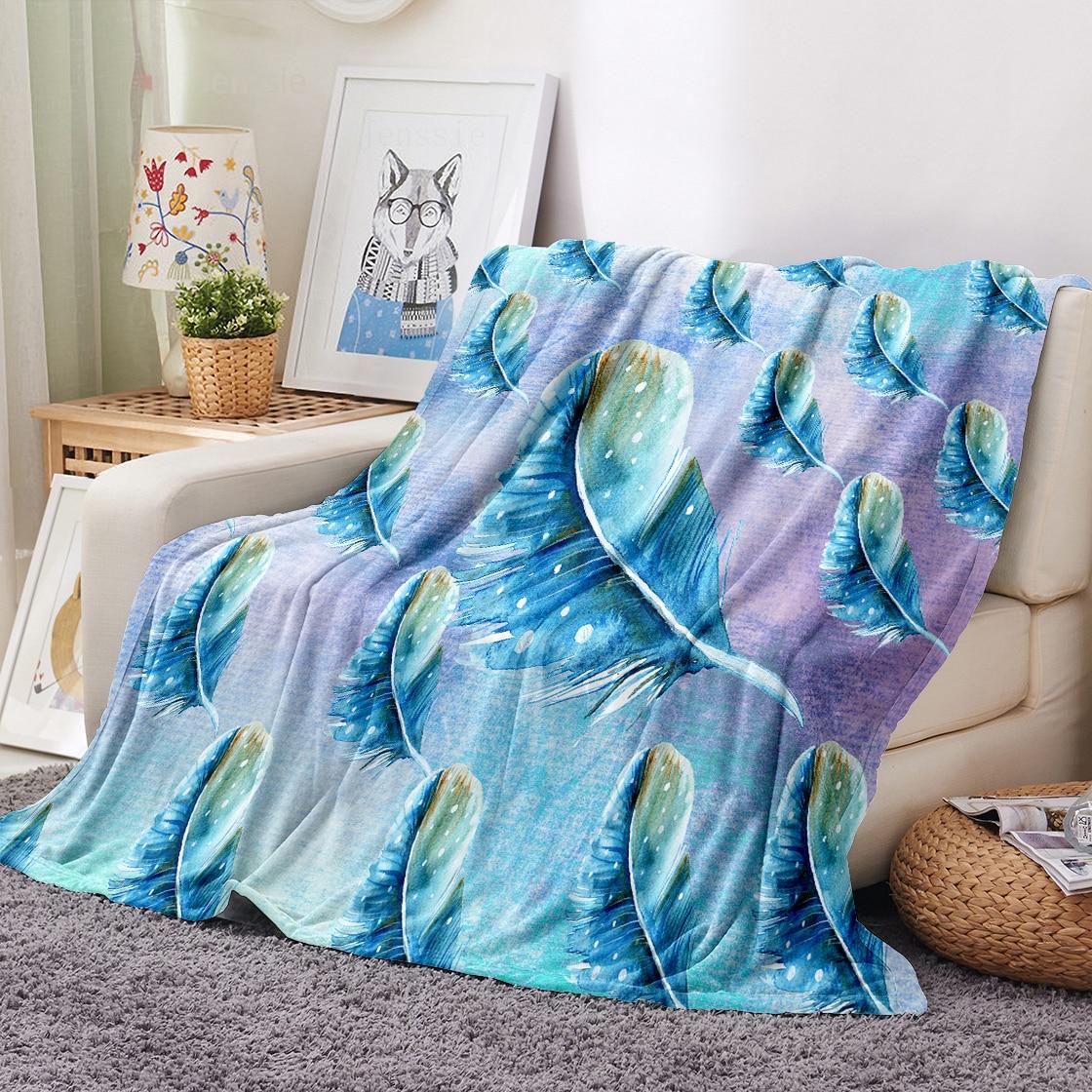 الأزرق ريشة رمي بطانية الوليد الفانيلا بطانية مناسبة ل كرسي السفر التخييم الاطفال الكبار أريكة تتحول لسرير غطاء النوم بطانية