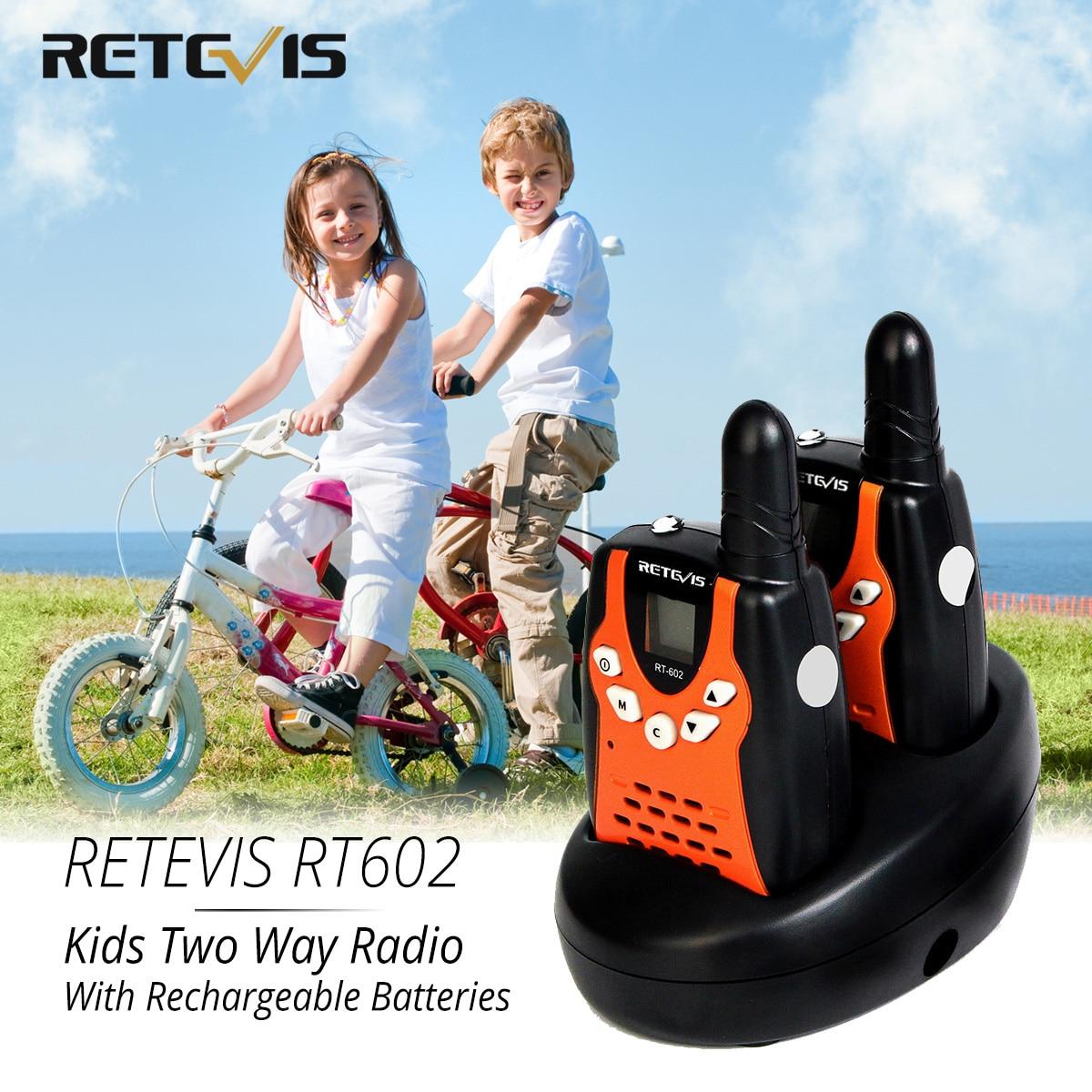 Retevis RT602 Walkie Talkie Kids Rechargeable 2pcs PMR446 FRS 0.5W Children Toy Two-way Radio Flashlight Festival Birthday Gift
