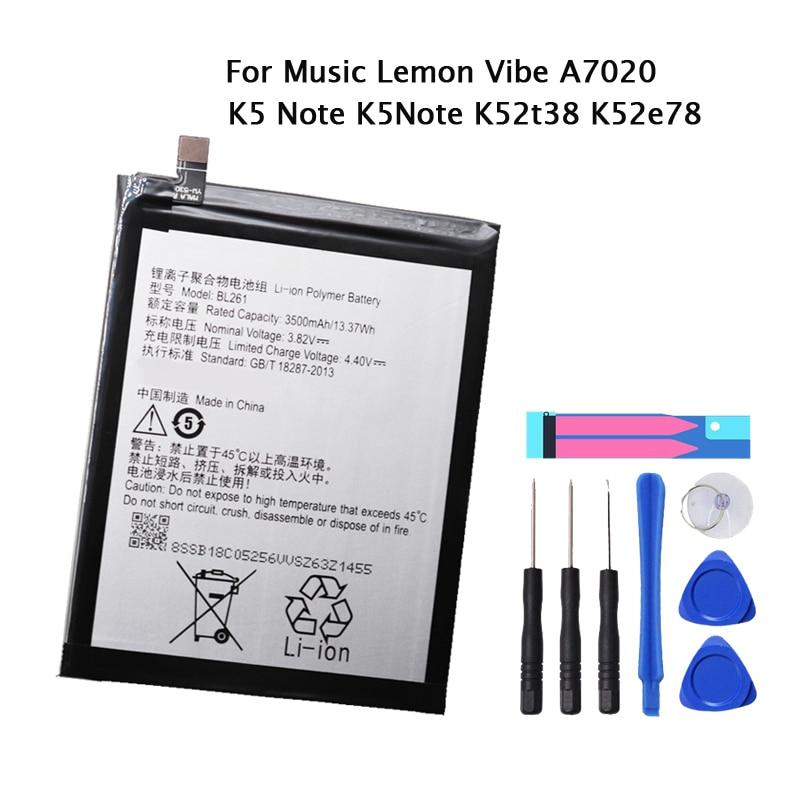 Nueva batería de calidad Original BL261 para Lenovo Vibe K5 Note Lemon A7020a40 A7020a48 K52t38 K52e78 con 3500mAh + herramientas gratis