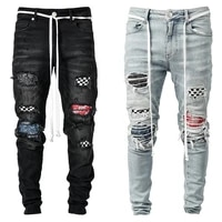 new jeans men ripped skinny jeans blue pencil pants motorcycle party casual trousers street clothing 2020 denim man clothin