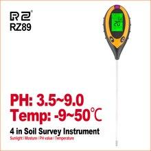 RZ 4 IN 1 토양 테스터 습도 감지기 디지털 PH 측정기 토양 수분 모니터 습도계 원예 식물 Lignt 햇빛 테스터