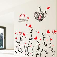 Cage de vigne à fleurs rouge amovible   Autocollants muraux, en forme de cœur, mignon oiseau, chambre à coucher, salon, canapé, décor mural de maison, décalcomanie artistique, bricolage