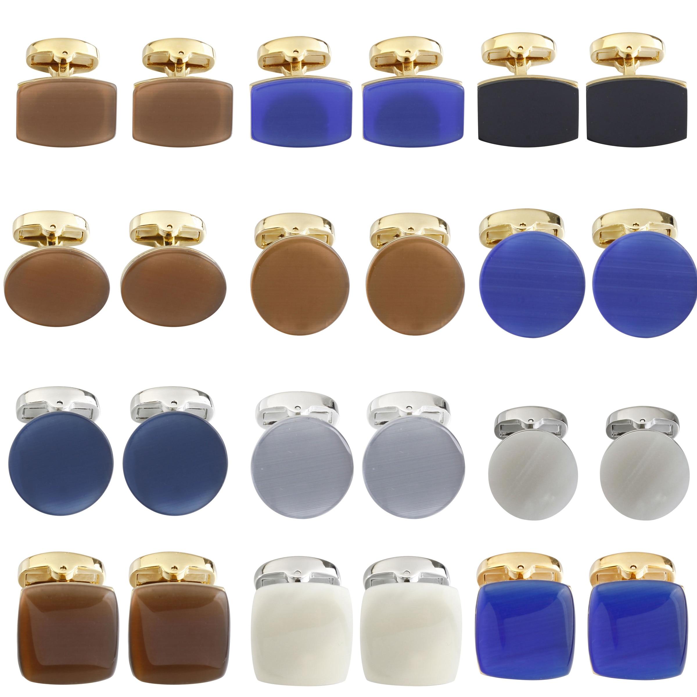 Ronde/Vierkante Gem Hand Made Manchetknopen Voor Heren Kleur Cat S Eye Manchetknopen Designer Merk Gemelos Para Hombre camisa