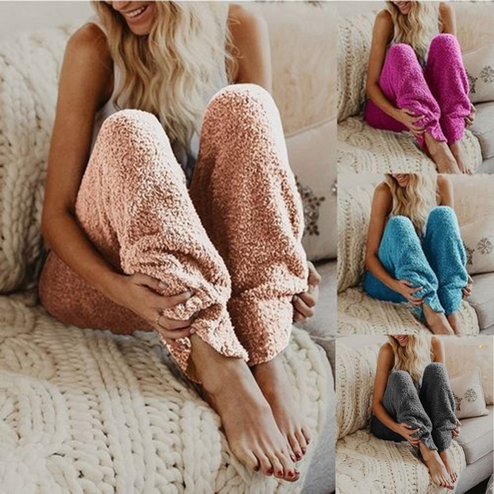 European and American New women's warm sleep pants Winter Warm Fleece sleepwear Long Pants Women Sol