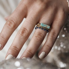 Handmade Natural Stone Beaded Rings for Men INS Retro Elegant Couple Jewelry Gift Party Engagement R