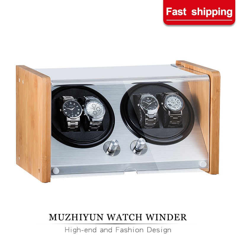 Automatic Watch Winders Acrylic Window Black Carbon Fiber Quiet Motor Storage Display Watches Box  PU Leather LED Light