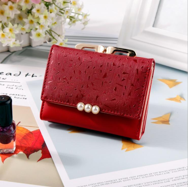 Mode perle élément femmes portefeuilles court en cuir souple dames mini sac à main pince concepteur pièce poche porte-carte femme portefeuille