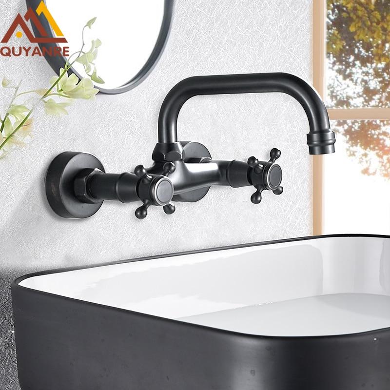 Quyanre grifo de lavabo de pared con doble ASA grifo mezclador de agua fría caliente grifo mezclador para cocina mezclador de cocina de rotación 360